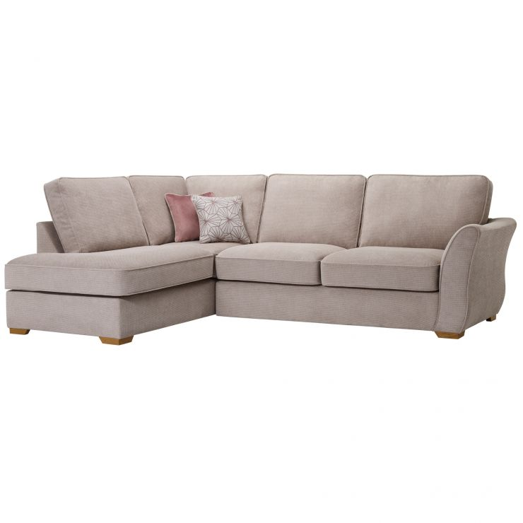 Monaco Right Hand High Back Corner Sofa in Rich Stone Fabric with Blush  Scatters