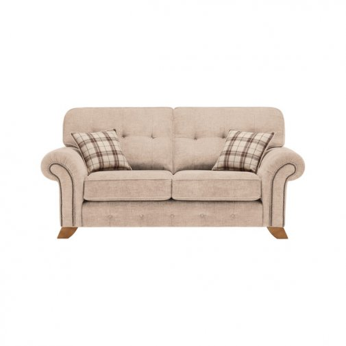 Montana 2 Seater High Back Sofa in Beige with Tartan Scatters