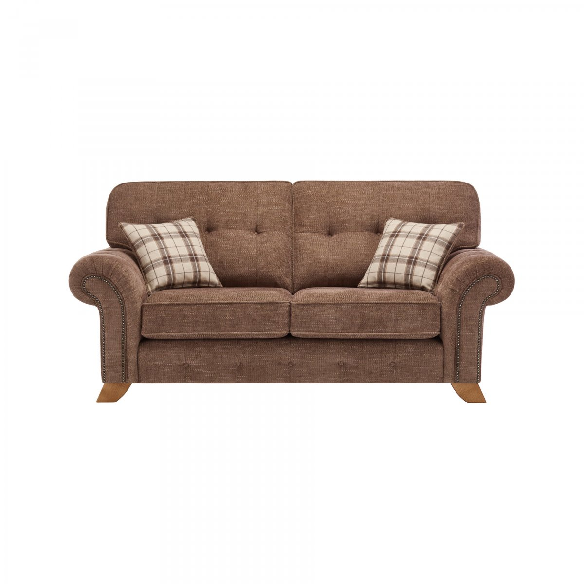 Montana 2 Seater High Back Sofa In Brown Tartan Cushions