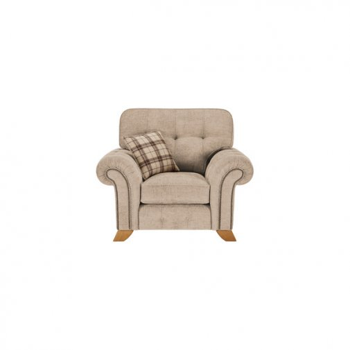 Montana Armchair in Beige with Tartan Scatter