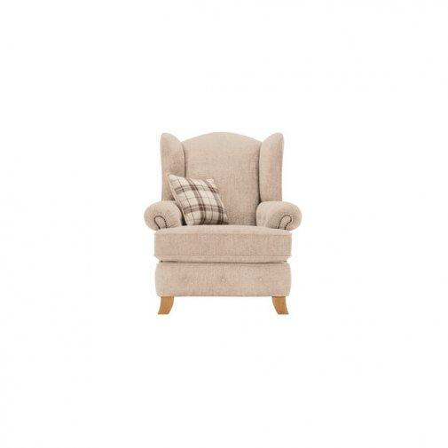 Montana Wing Chair in Beige with Tartan Scatter