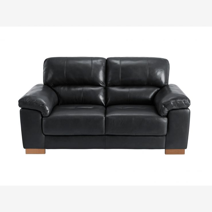 Monza 2 Seater Sofa - Black Leather