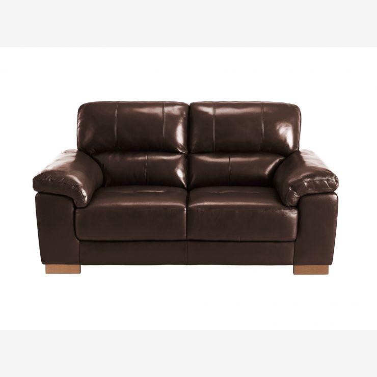 Monza 2 Seater Sofa in Two Tone Brown leather   Oak Furniture Land