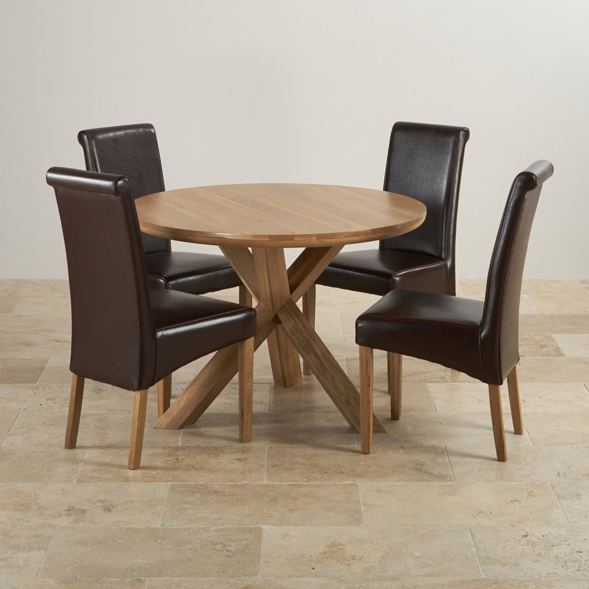 Natural real oak dining set round table 4 brown leather for Round dining table set for 4