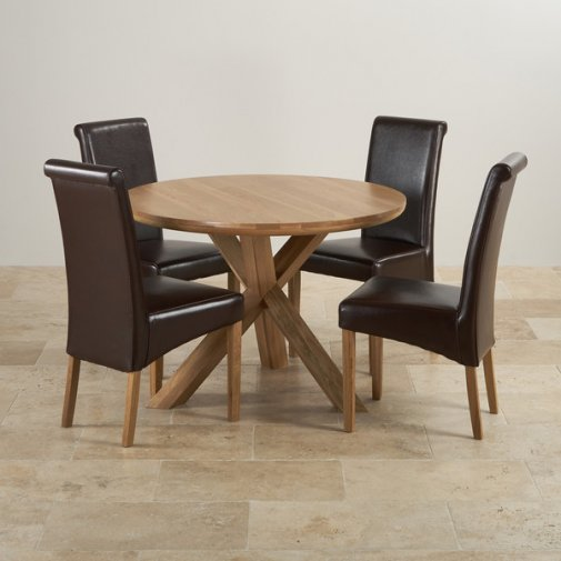 "Natural Solid Oak Dining Set - 3ft 7"" Round Table with 4 Scroll Back Brown Leather Chairs"