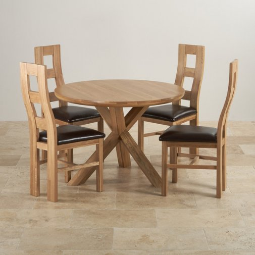 "Natural Solid Oak Dining Set - 3ft 7"" Round Table with 4 Wave Back and Brown Leather Chairs"