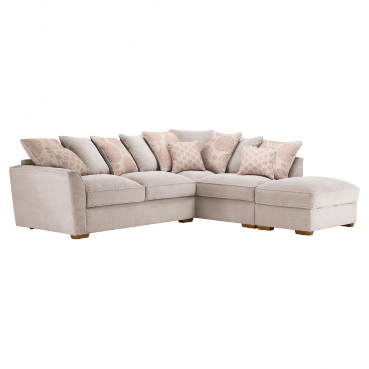 Nebraska Corner Pillow Back Sofa with Storage Footstool Left Hand in Aero Fawn with Rose Scatters