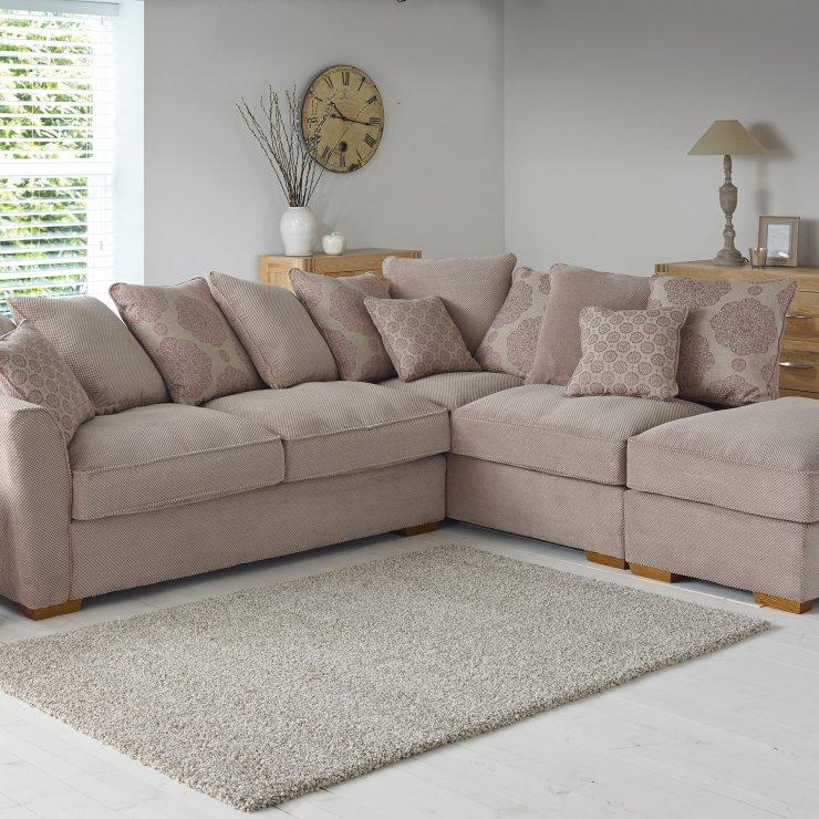 Nebraska Pillow Back Left Corner Sofa In Silver Footstool