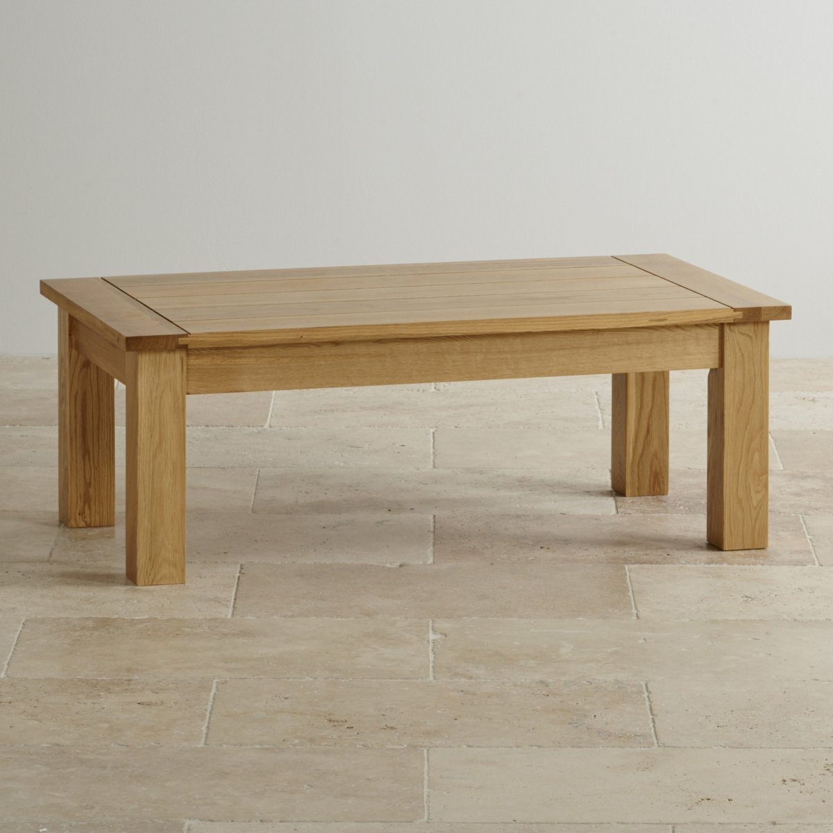 Contemporary coffee table in solid oak oak furniture land for Cheap oak coffee table