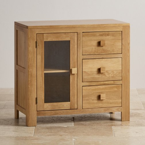 Oakdale Natural Solid Oak 3 Drawer Glazed Media Cabinet
