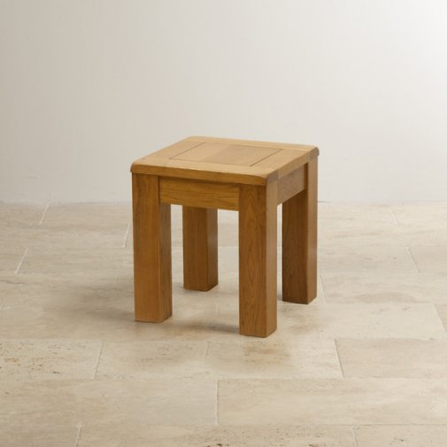 Original Rustic Solid Oak Square Stool