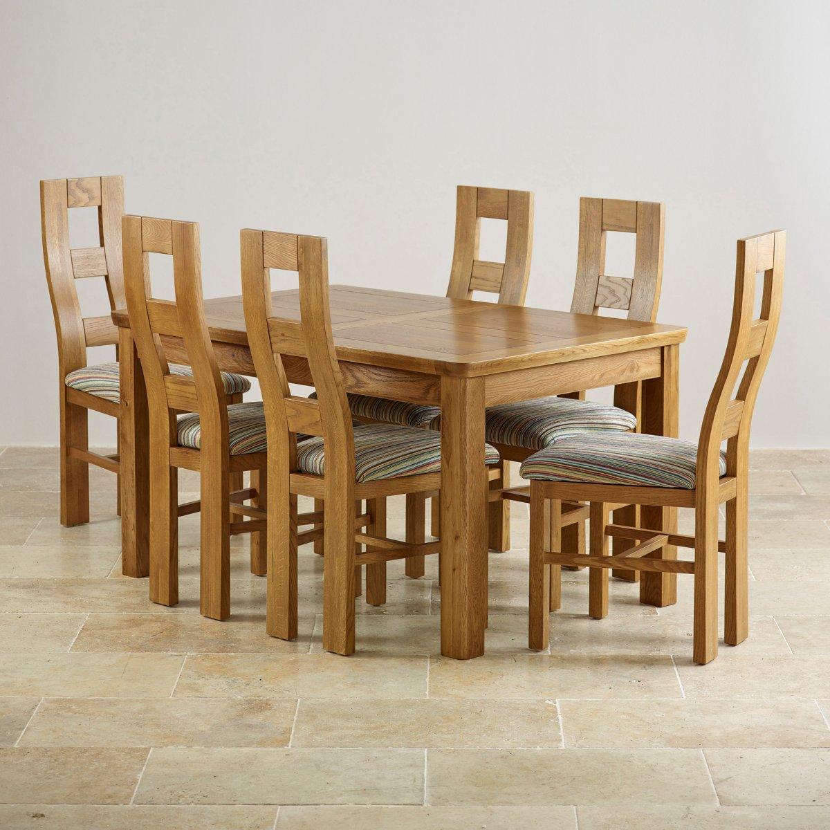 Orrick Extending Dining Set In Rustic Oak: Table + 6 Beige