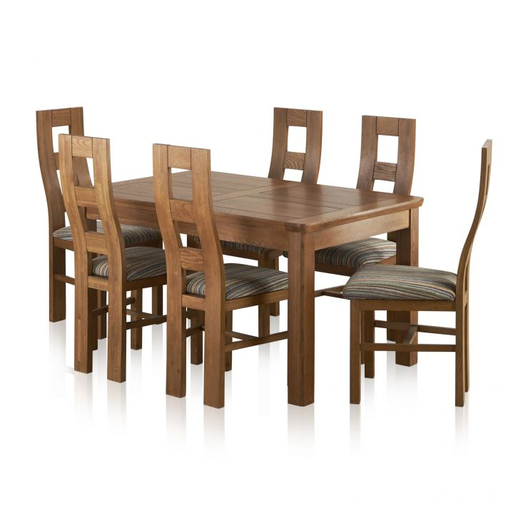 Orrick Extending Dining Set In Rustic Oak Table 6 Beige Chairs