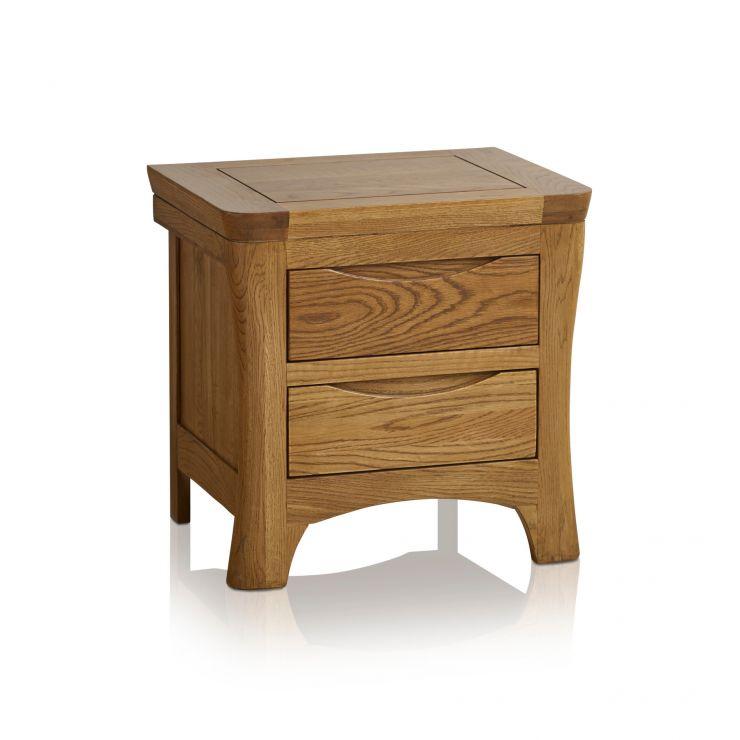Orrick bedside table in rustic oak oak furniture land orrick rustic solid oak 2 drawer bedside table image 1 express delivery watchthetrailerfo