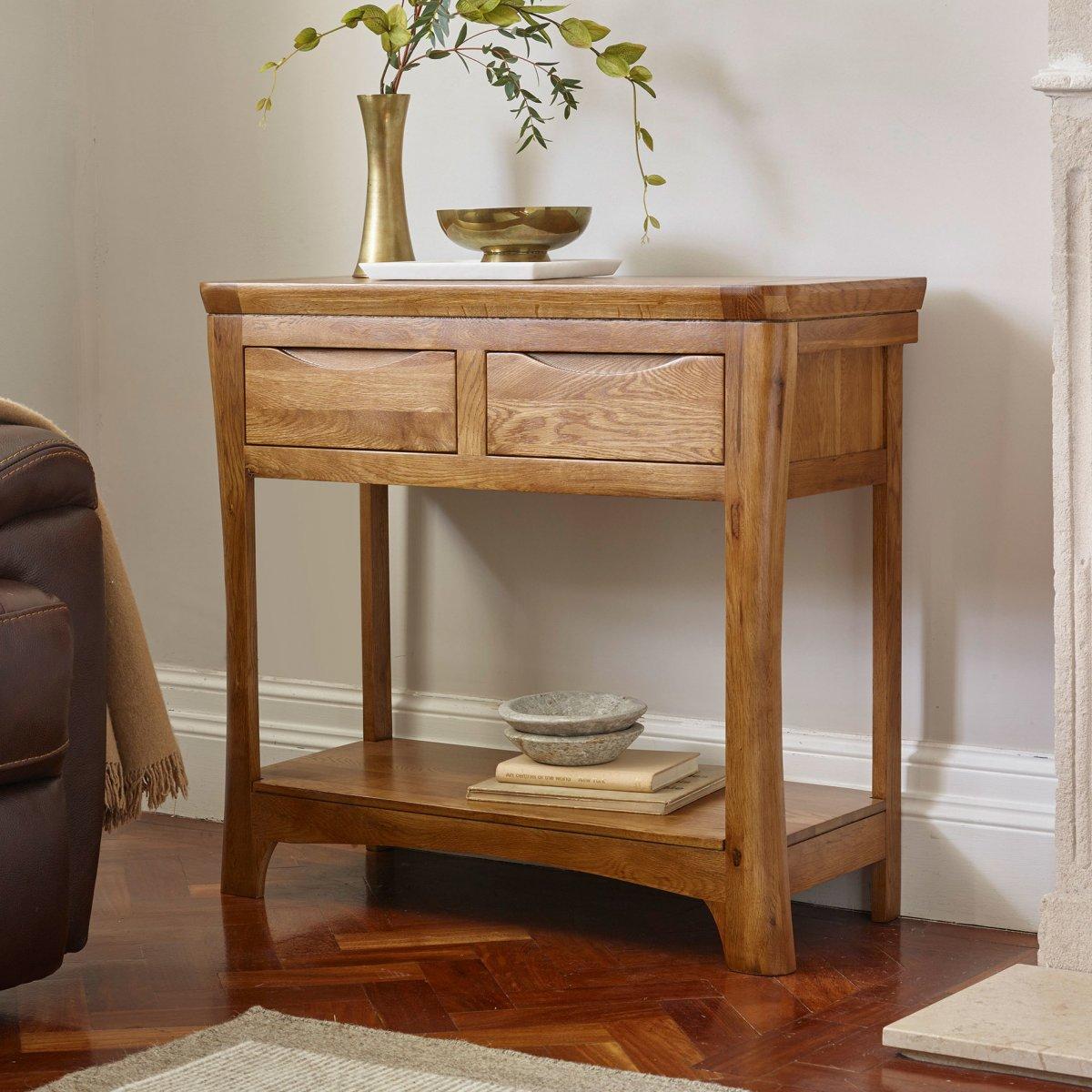 Orrick Console Table In Rustic Solid Oak Oak Furniture Land