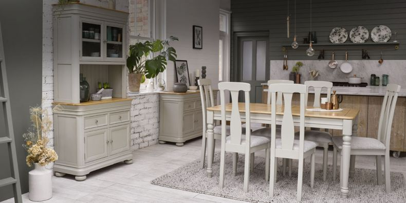 Sensational Painted Dining Table And Chairs Grey White Cream Oak Ncnpc Chair Design For Home Ncnpcorg