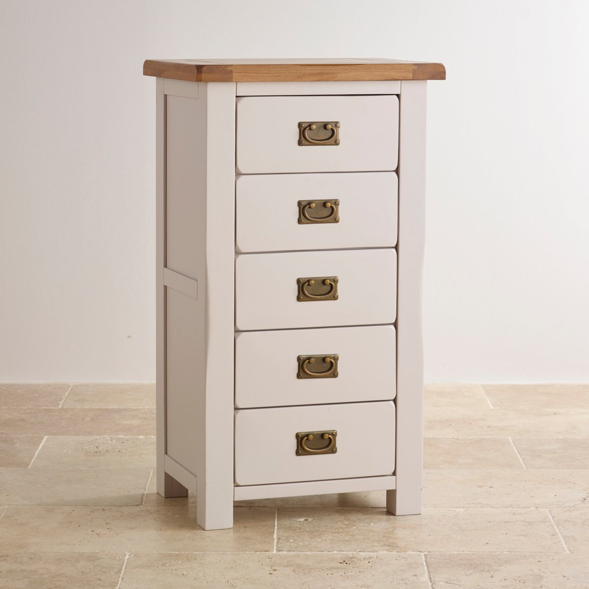 Kemble Rustic Solid Oak Painted 5 Drawer Chest