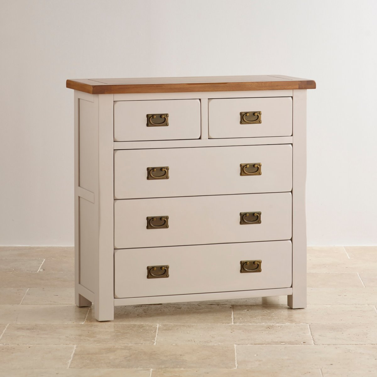 Kemble Rustic Solid Oak Painted 3 2 Chest Of Drawers