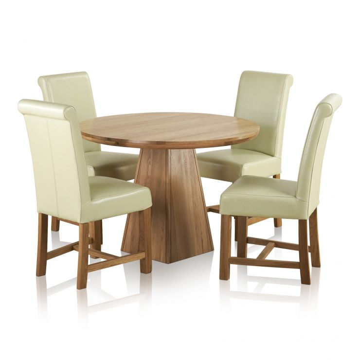 Provence Natural Solid Oak Dining Set: Provence Dining Set In Real Oak: Table + 4 Leather Cream