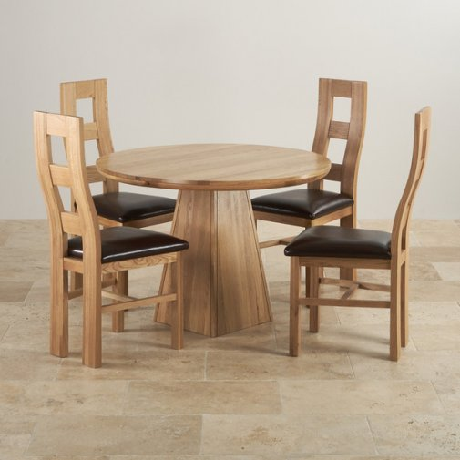 "Provence Natural Solid Oak Dining Set - 3ft 7"" Round Table with 4 Wave Back and Brown Leather Chairs"