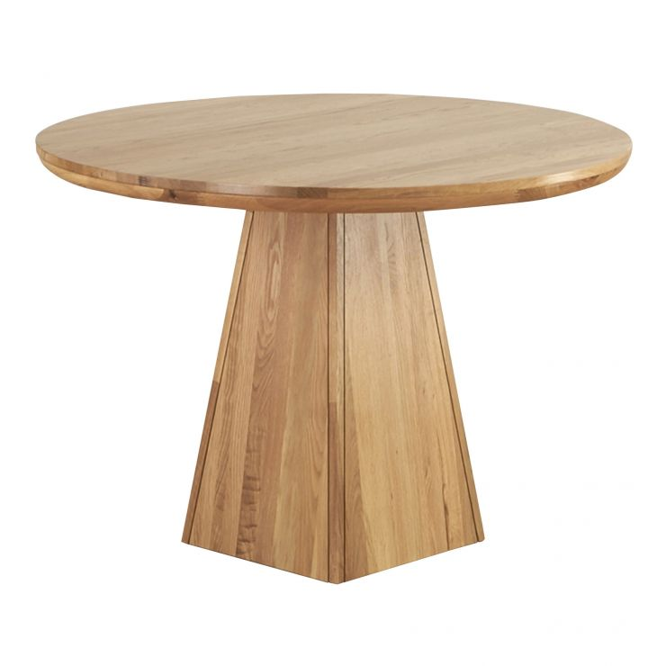 Provence Natural Solid Oak Dining Set: Provence Round Table With Pyramid Base In Natural Oak