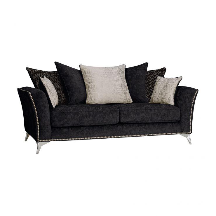 Quartz Black 3 Seater Sofa In Fabric Pillow Back