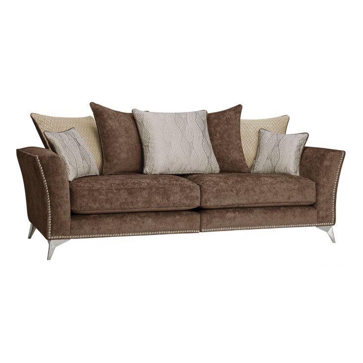 Quartz Chocolate 4 Seater Sofa In Fabric Pillow Back