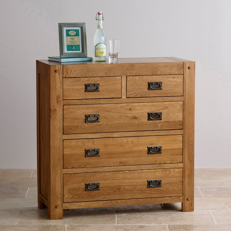 Quercus Rustic Solid Oak 2+3 Drawer Chest