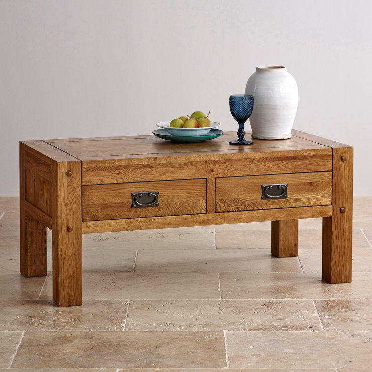 Quercus Coffee Table Rustic Solid Oak Oak Furniture Land