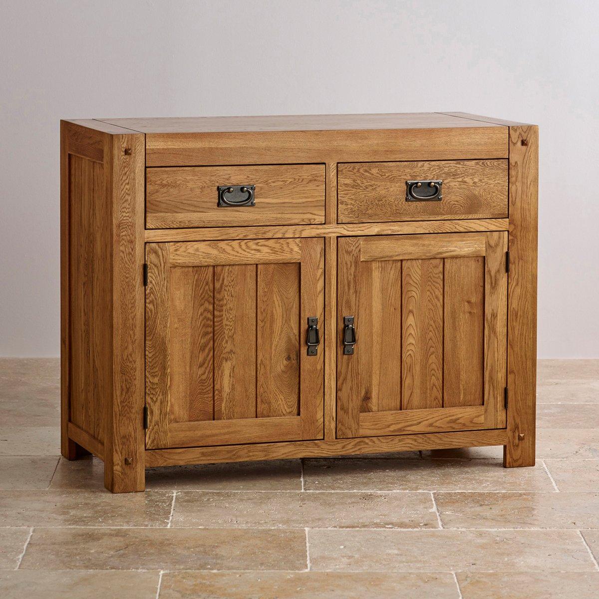 quercus small sideboard in rustic oak oak furniture land. Black Bedroom Furniture Sets. Home Design Ideas