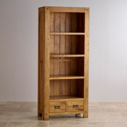 Quercus Rustic Solid Oak Tall Bookcase