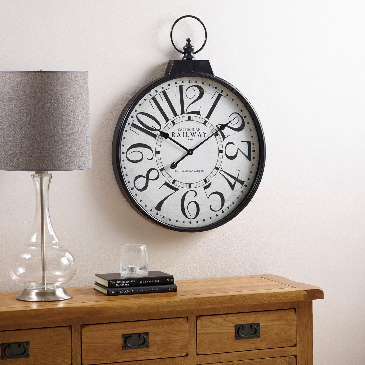 Railway wall clock accessories oak furniture land railway wall clock amipublicfo Gallery