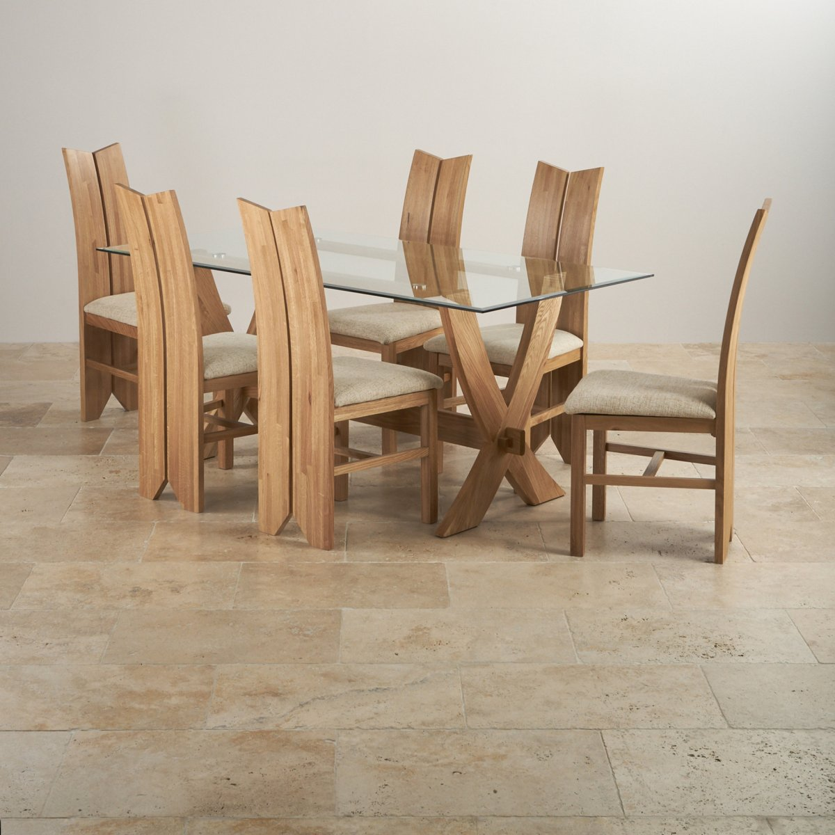 Reflection Dining Table In Natural Oak 6 Tulip Beige Chairs