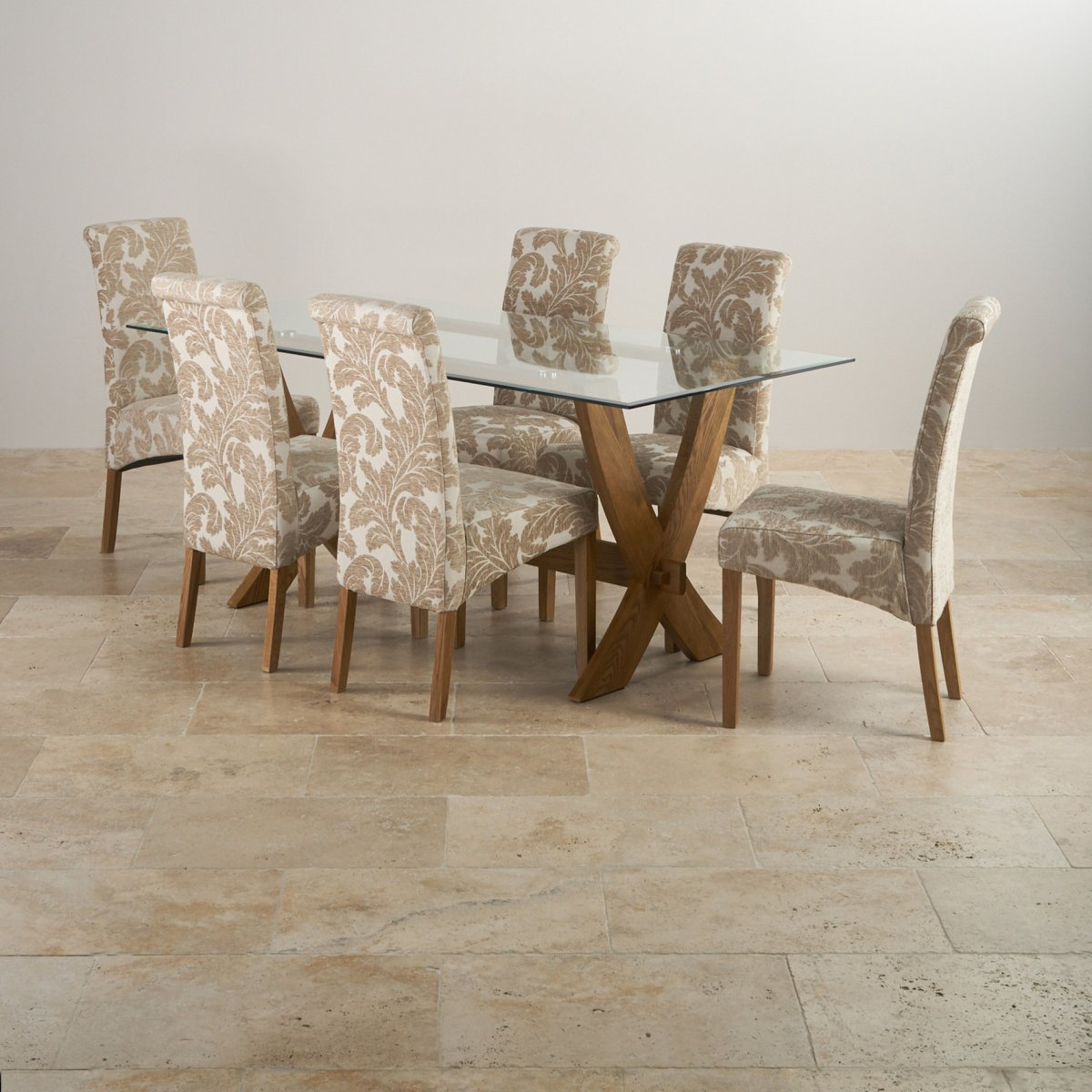 Reflection Rustic Oak Dining Table 6 Patterned Chairs