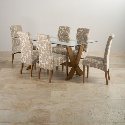 Reflection Rustic Solid Oak Dining Set - 6ft Table with 6 Scroll Back Patterned Beige Chairs