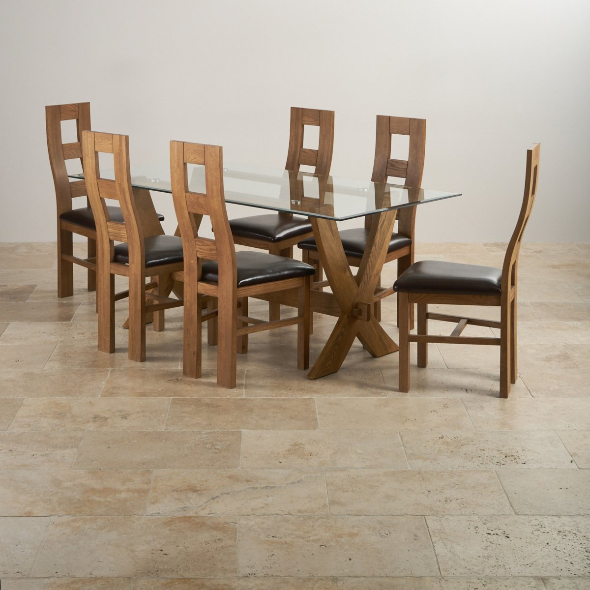 Reflection Dining Table In Rustic Oak + 6 Brown Leather Chairs