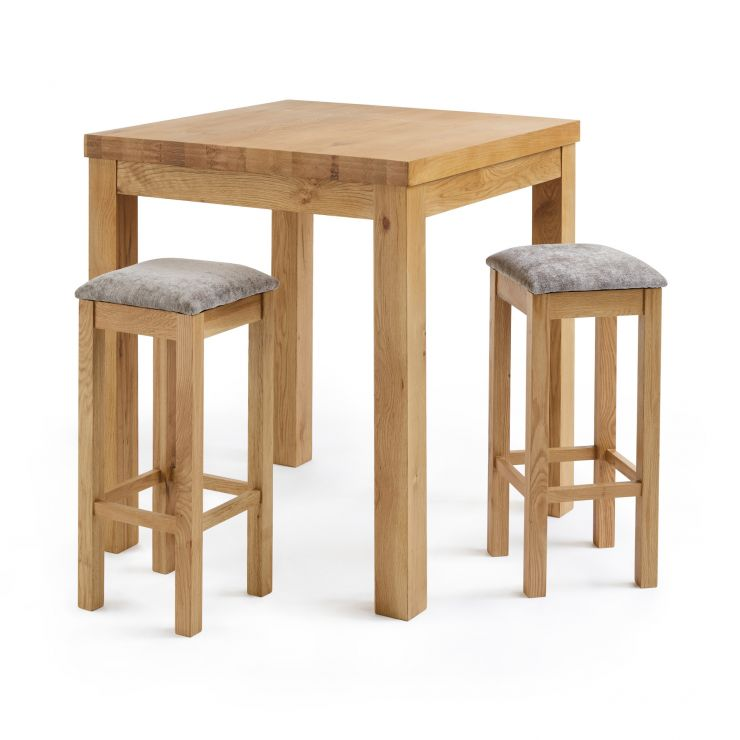 buy popular abfc5 08495 Rhodes Natural Solid Oak Breakfast Set - 3ft Table with 2 Square Plain  Truffle Fabric Bar Stools