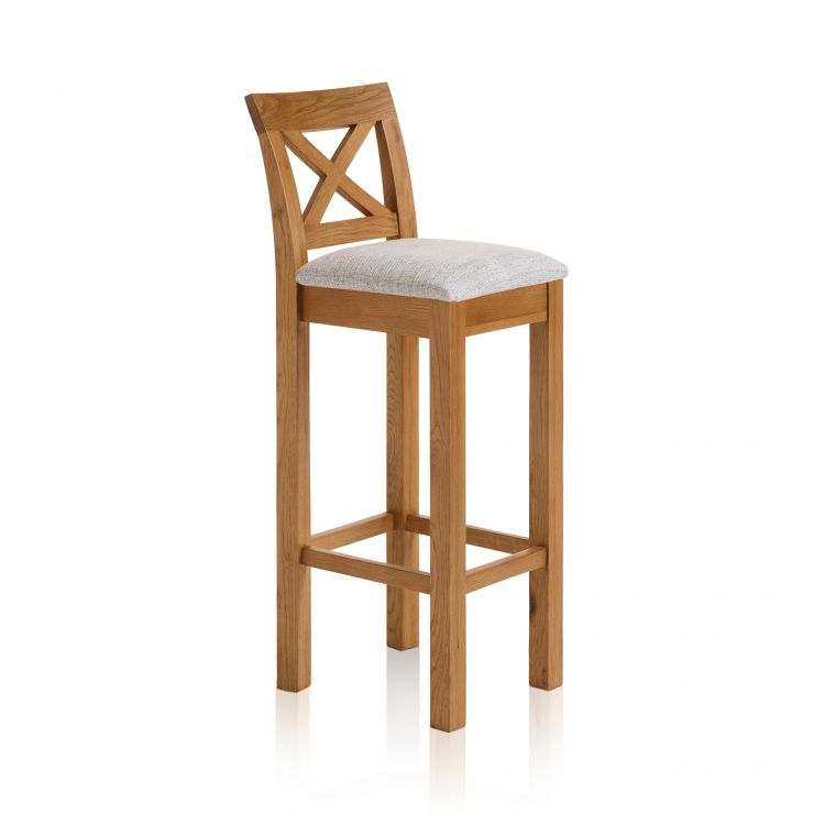 best service 15135 6ded5 Rhodes Rustic Solid Oak Cross Back Bar Stool with Plain Grey Fabric Pad
