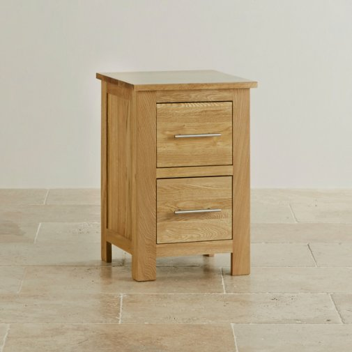 Rivermead Natural Solid Oak 2 Drawer Bedside Table