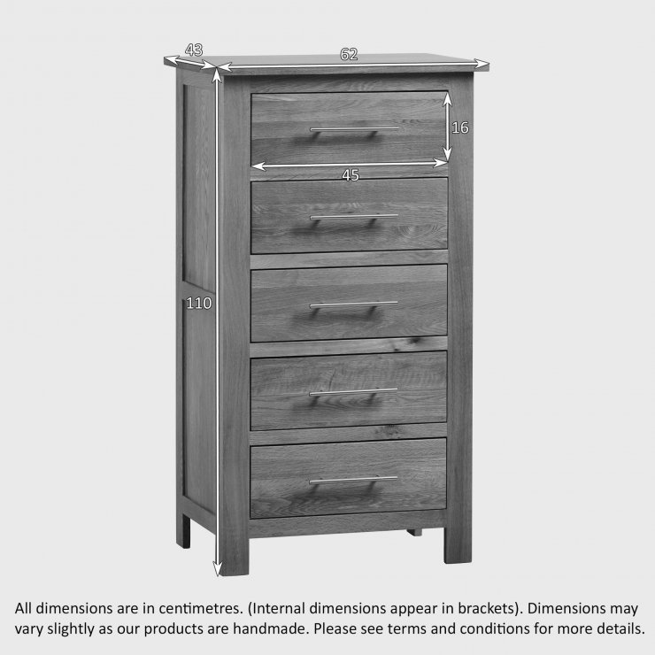 Rivermead Natural Solid Oak 5 Drawer Tallboy