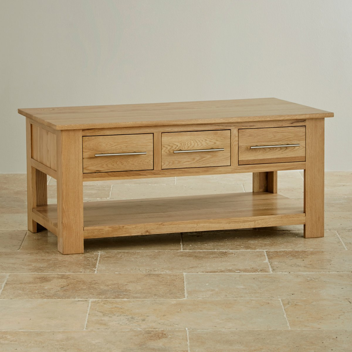 Rivermead 6 Drawer Coffee Table In Natural Solid Oak