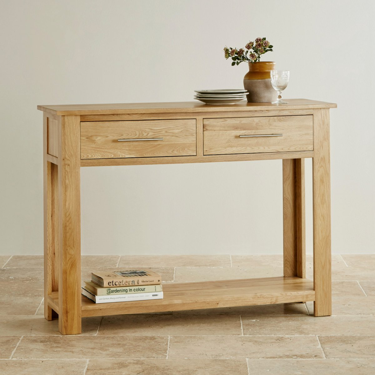 Rivermead natural solid oak console table by furniture