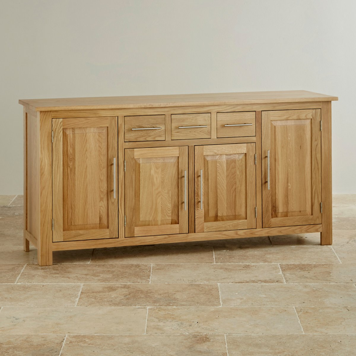 Rivermead natural solid oak large sideboard oak for Oak furniture land