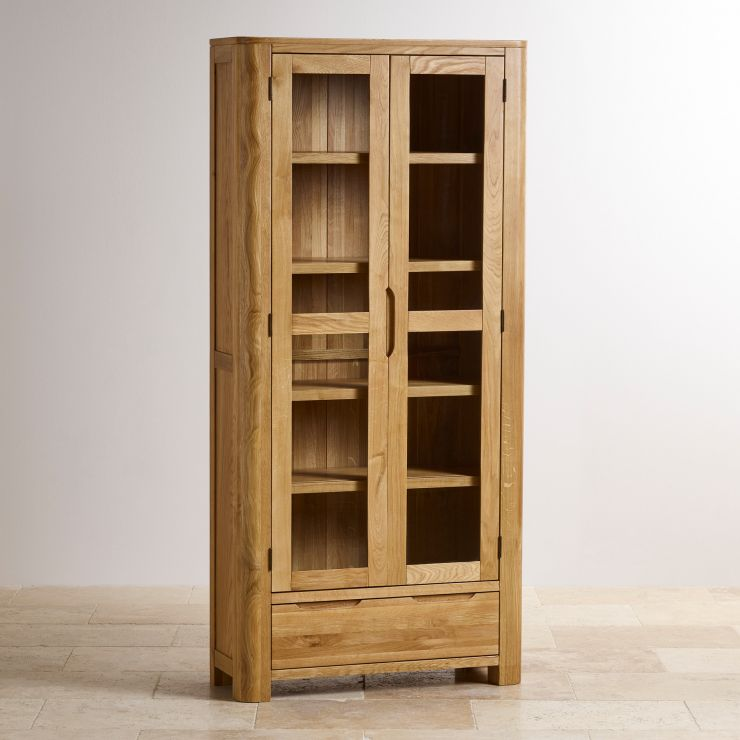 Romsey Display Cabinet In Natural Solid Oak Oak