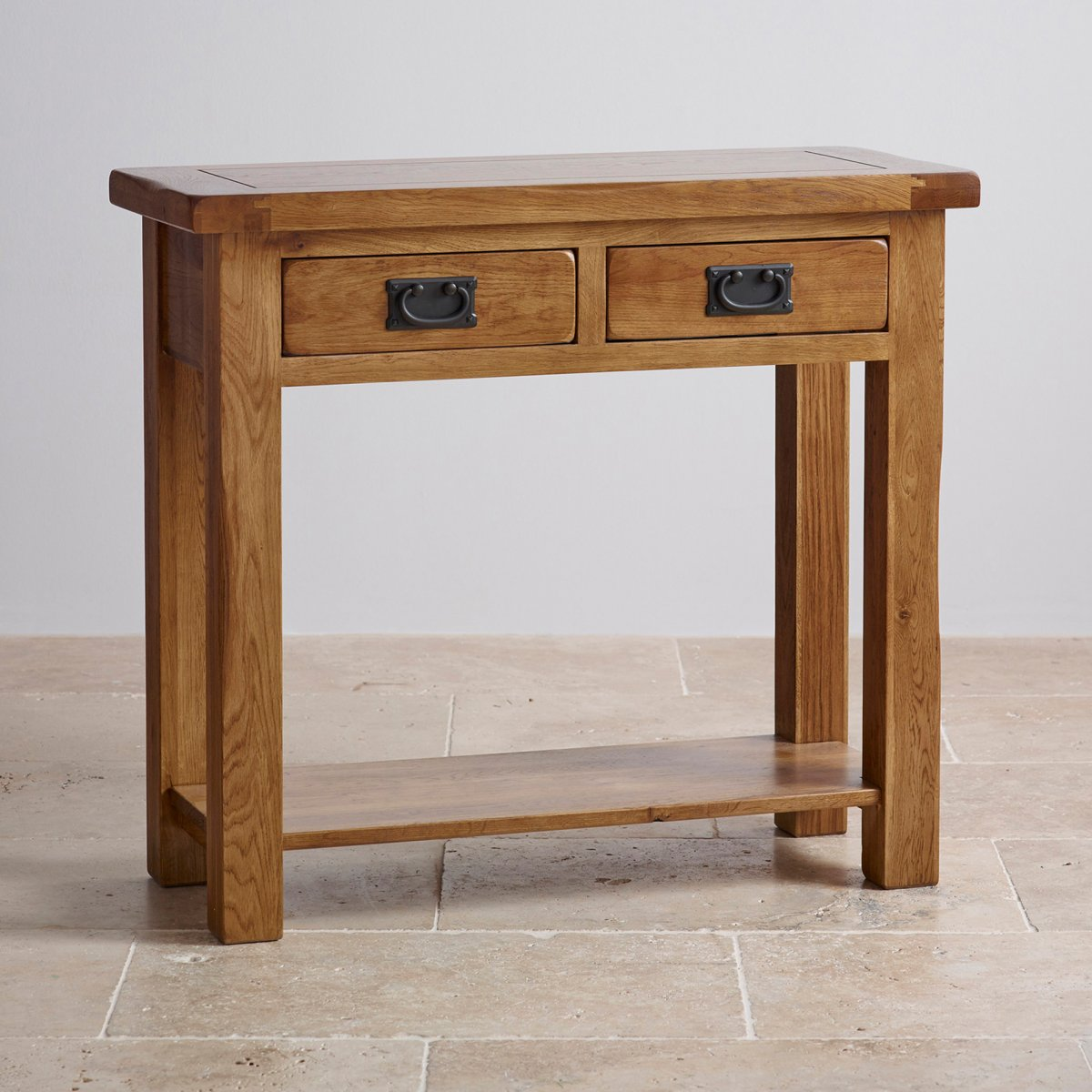 5 Console Table ~ Original rustic drawer console table in solid oak