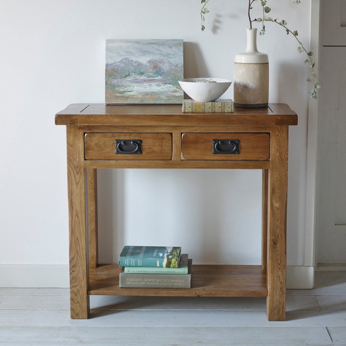 Original Rustic 2 Drawer Console Table In Solid Oak
