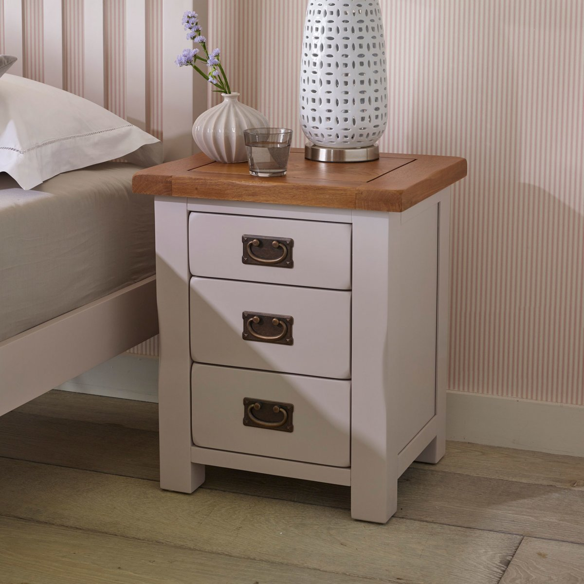 Kemble 3 drawer painted bedside table in rustic solid oak for Table 6 kemble inn