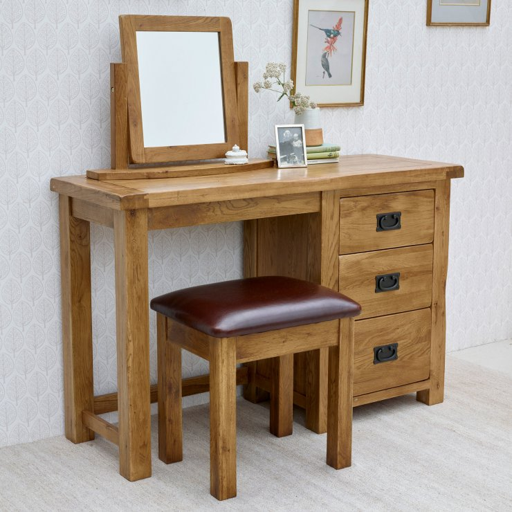 Original Rustic Solid Oak 3 Drawer Dressing Table