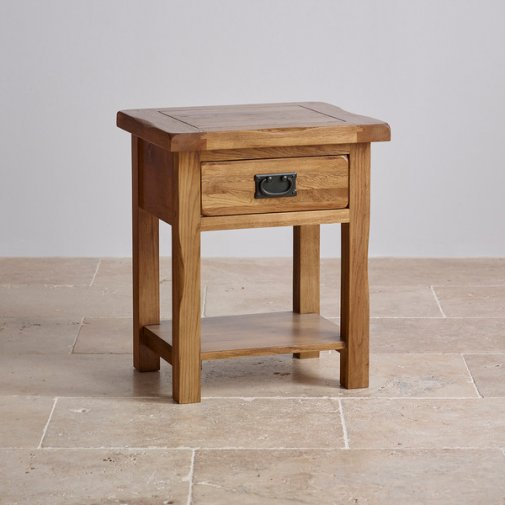 Original Rustic Solid Oak Bedside Table