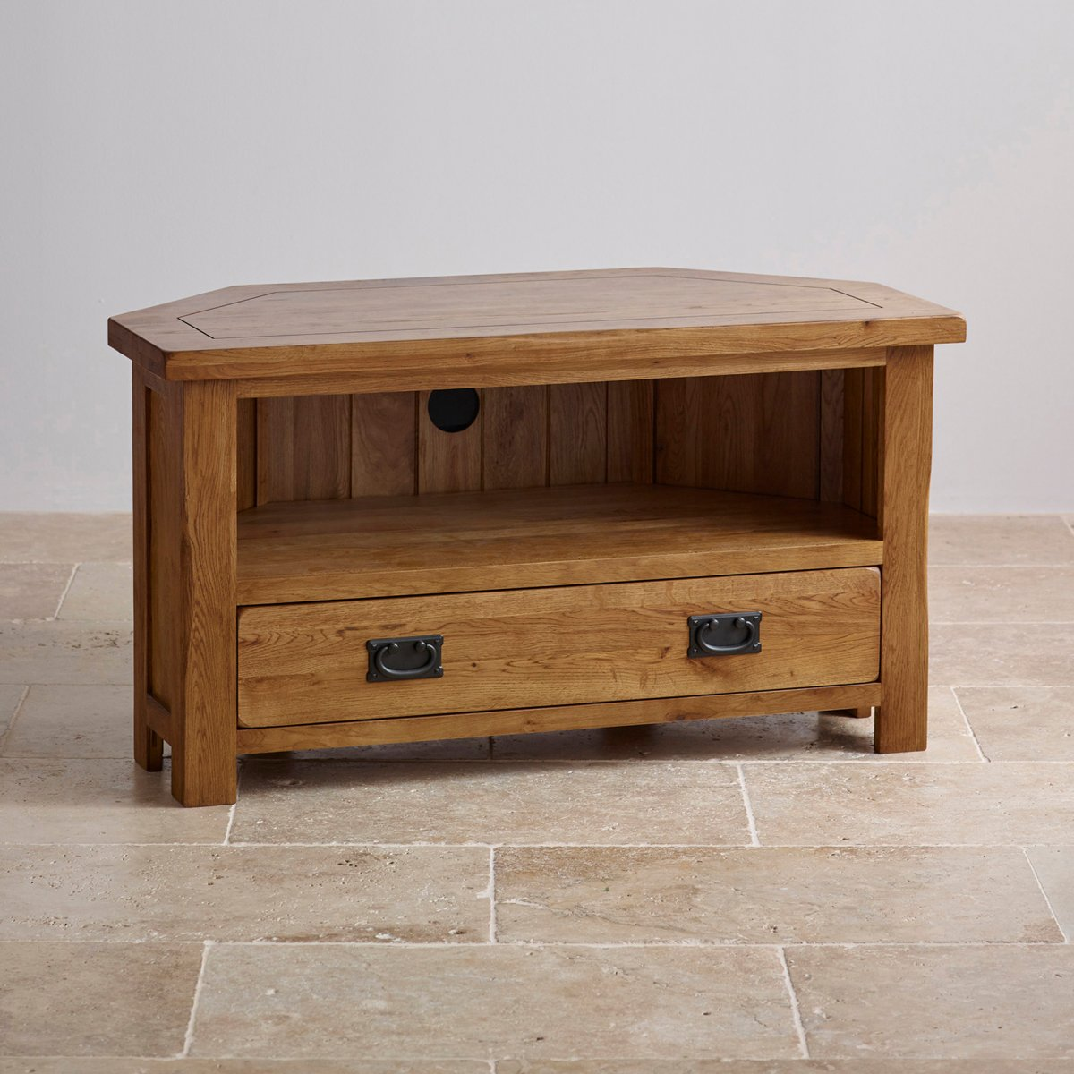 Original rustic corner tv cabinet in solid oak for Solid oak furniture